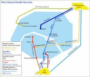 Una utile mappa dei collegamenti tra Parigi e i suoi Aeroporti