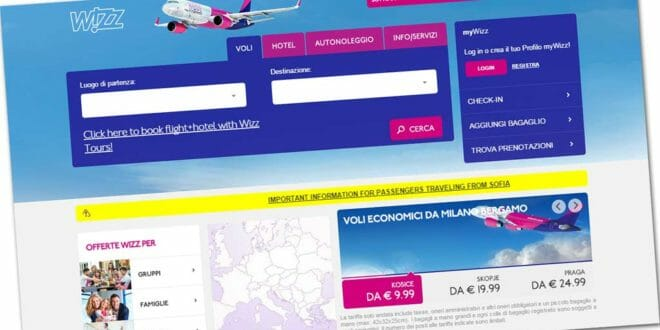 Wizzair, sito low cost