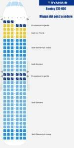 Ryanair: la mappa dei posti a sedere
